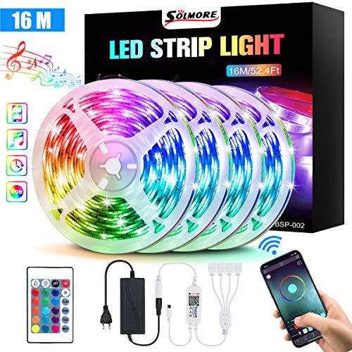SOLMORE LED Streifen 16M, Bluetooth LED Strip 4x 4M RGB 5050 LED Band, steuerbar via App und Fernbedienung, LED Lichtleiste Lichtband mit 16 Millionen Farben, Sync mit Musik für Haus, Party Deko