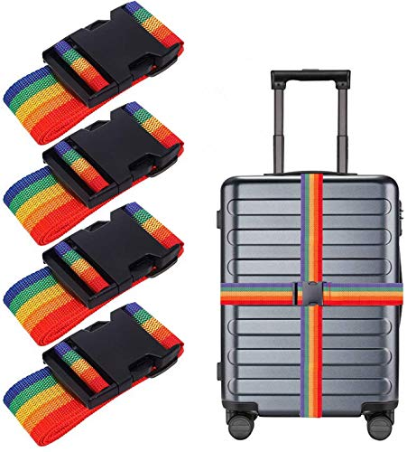 ProLeo luggage straps, set of 4 luggage strap, adjustable secure closure of the suitcase when travelling and marking luggage (rainbow).