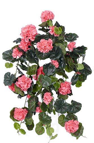 artplants.de Decorativo Pelargonium Colgante Anton, 130 Hojas, Rosa, 65cm, Ø 35cm - Geranio sintético - Planta Artificial