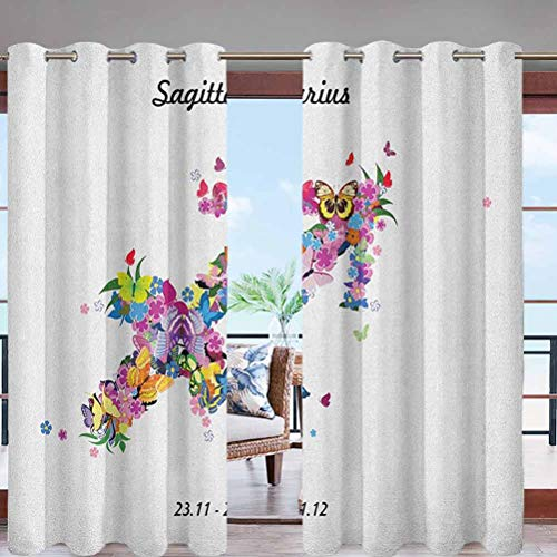 Dasnh Light Filtering Water Proof Resistant Outdoor Curtain Panel Blossoming Arrow Shape Flowers W108 x L84 with Grommet Top for Deck/Balcony