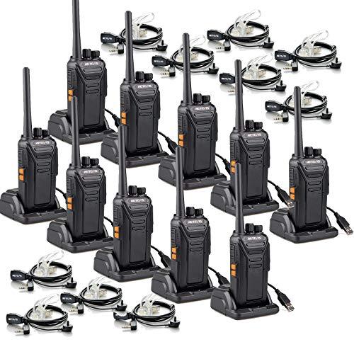 Retevis RT27 Walkie Talkie con Auriculares, Walkie Talkie Recargable con Cargador USB, PMR446 sin Licencia, 16 Canals, CTCSS/DCS, VOX, Walkies Profesionales (10 Unidades, Negro)