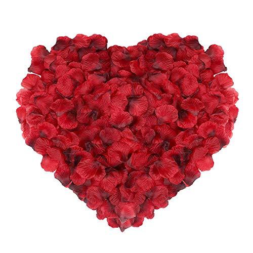 Naler 2000 Piezas de pétalos de Rosa de Seda Artificial Rojos para el día de San Valentín, proponer, Flores de Boda, Confeti, dispersión de Mesa