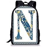 Hui-Shop Mochilas Escolares Letra N, diseño Floral en Alfabeto Vintage Diseño de Fuente N en Marco Inspirado en Azulejo Azul Amarillo Naranja para niños Niñas