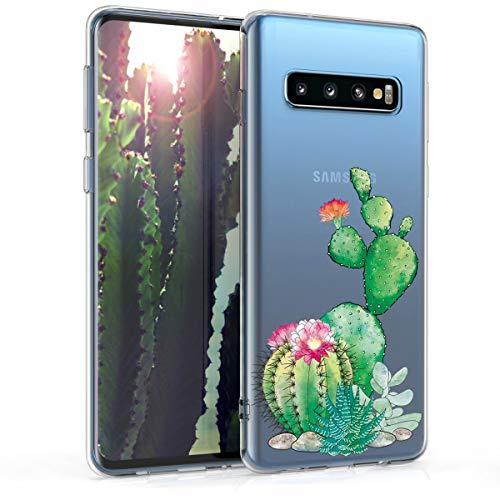 kwmobile Hülle kompatibel mit Samsung Galaxy S10 - Handyhülle - Handy Case Kaktus Blüte Grün Pink Transparent