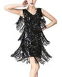 Guiran Mujer Danza Vestido Baile De Salón Latino Tango con Lentejuelas Y Flecos Fiesta Cóctel Ropa Negro L