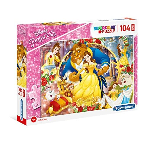 Clementoni - 23745 - Supercolor Puzzle - Disney The Beauty And The Beast - 104 Maxi Pezzi - Made In Italy - Puzzle Bambini 4 Anni +
