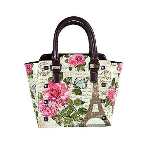 Large PU Leather Hobo Handbag for Women Concealed Carry Studded Shoulder Bag Crossbody Purse Paris Post Bar Pink Rose Romance