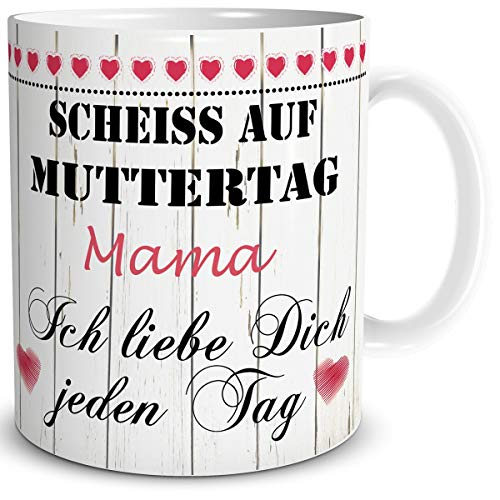 TRIOSK Tasse Mama mit Spruch lustig Schei** auf Muttertag Mama Ich Liebe Dich Geschenk für Beste Mutter Geburtstag Muttertagsgeschenk