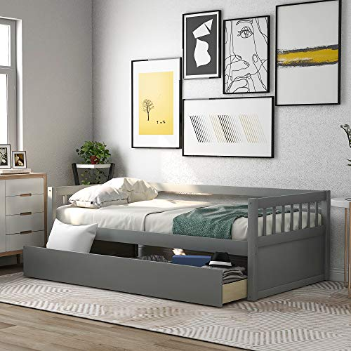 Merax Twin Size Daybed Bed Frame with 2 Kids/No Box Spring Needed Platform, Gray(Drawers)