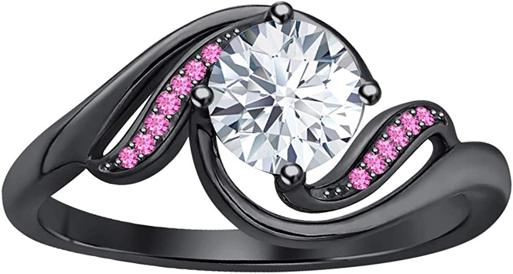 RUDRAFASHION online shopping 2 Carat Round Cut CZ Pink Max 64% OFF Diamond Sapphire Bl 14K