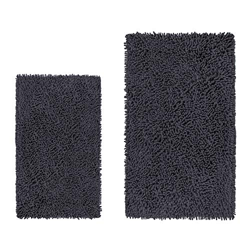 LuxUrux Bathroom Rug Set–Extra-Soft Plush Bath mat Shower Bathroom Rugs,1'' Chenille Microfiber Material, Super Absorbent (Rectangular Set, Charcoal Gray)
