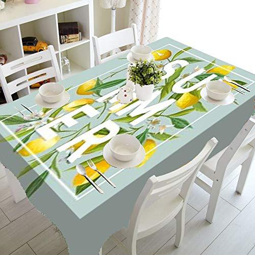 XXDD Mantel Elegante de Acuarela con diseño de limón, Mantel de Hojas de limón Tropical, Impermeable, Rectangular, decoración del hogar, A1 150x210cm