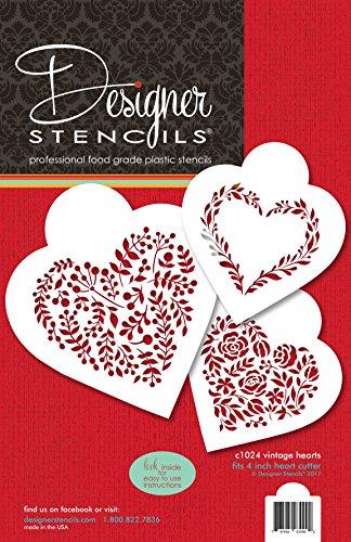 Designer Stencils C1024 - Juego de plantillas para galletas, diseño de corazones vintage