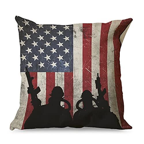 CCMugshop Funda de cojín vintage con diseño de bandera americana, de algodón y lino, decorativa, 45 x 45 cm, color blanco