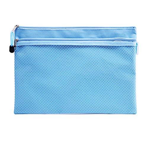 ファイルケース クリアケース カードケース ファイル袋 ペン入れファスナー式 撥水 持ち運びに便利 A4 網目 ファスナ 付き (ブルー1)