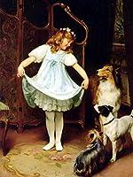 5DDIYダイヤモンド刺繡子ラインストーン画像ダイヤモンド絵画少女肖像画ダイヤモンドモザイク犬家の装飾ギフト-7094_Square_50X70cm_