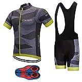 Men's Quick-Dry Cycling Jersey Set Road Bike Bicycle Shirt + Bib Shorts with 9D Gel Padded MTB Riding Clothing kit,...