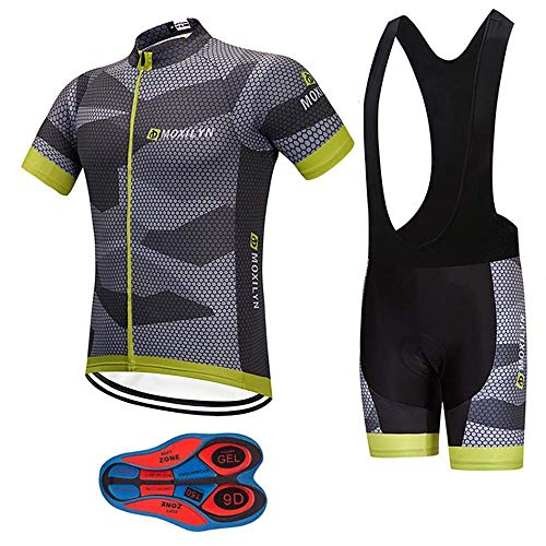 Men's Quick-Dry Cycling Jersey Set Road Bike Bicycle Shirt + Bib Shorts with 9D Gel Padded MTB Riding Clothing kit, C46-set, L=Height: 5'7-5'9' Weight: 135-170lbs