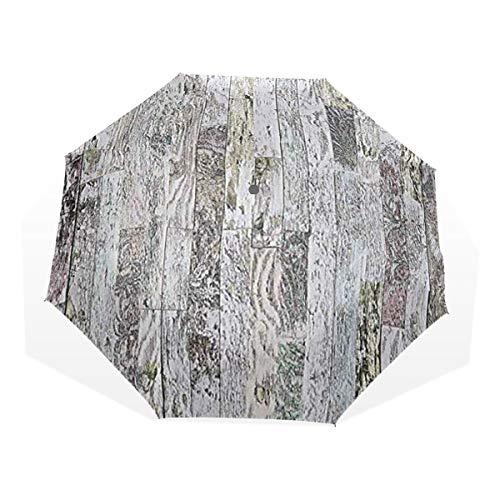LASINSU Regenschirm,Pastellfarbene Eichenholzbretter des Bauernhauses im Land natürlicher Lebensstil,Faltbar Kompakt Sonnenschirm UV Schutz Winddicht Regenschirm
