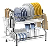 Dish Drying Rack,Ace Teah 2 Tier Dish Rack with Utensil Holder,304 Strainless Steel