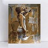 Pintura Al Óleo Digital Kit,Diy Pintado A Mano Por Kits De Números Pintura Al Óleo Pintura Digital Mujer Violinista Personaje Moderno Cuadros De Arte Abstracto Para Sala De Estar Decoración Del Ho