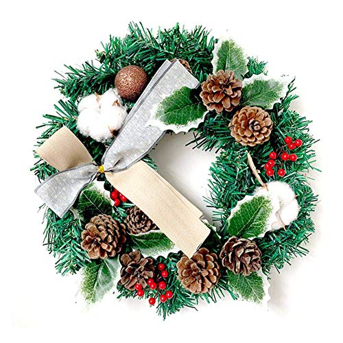 HXCD 12 inch s Pine Wreath,s Bell Wreath with Pine Cones,Bow,Cotton Wreath Decorative Garland for Front Door Window Decoration