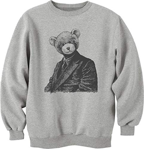 Nothingtowear Unisex Vintage Beautiful Bear Portrait Sweatshirt Jumper Grau S