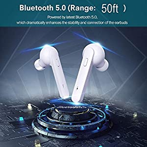 TWS Bluetooth 5.0 Wireless Earbuds, IPX7 Waterproof In-Ear Headphones Hands-free Microphone Wireless Earphone with Built-in Mic Headset Premium Sound for Driving,Office,Sport with Charging Case