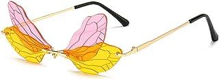 Dragonfly Wing Shape Sunglasses for Women/Men Frameless Irregular Glasses Shades Party Sun Glasses