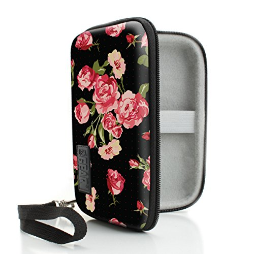 USA Gear Vape Case with eCigarette and Pod Travel Storage - Compatible with JUUL Vapes - Weather and Scratch Resistant, Wrist Strap, Compact Design with Hard Shell Exterior - Floral