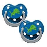 NFL Football Team Logo Baby Infant Glow In The Dark Pacifier 2-Pack (Detroit Lions)