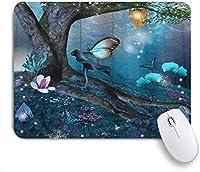 VAMIX マウスパッド 個性的 おしゃれ 柔軟 かわいい ゴム製裏面 ゲーミングマウスパッド PC ノートパソコン オフィス用 デスクマット 滑り止め 耐久性が良い おもしろいパターン (花が咲く魅惑の森神秘的な環境森のイラスト)