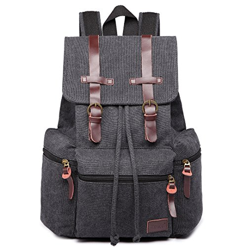 Kono Vintage Unisex Casual Backpack Canvas Rucksack Bookbag Satchel Hiking Backpack Travel Outdoor Shouder Bag (Black)
