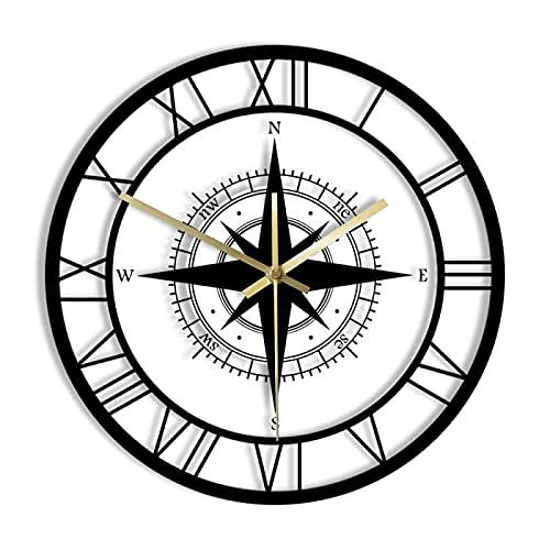 hufeng Reloj de Pared Brújula de Rosa de los Vientos Negra Reloj de Pared silencioso Exclusivo Mapa de dirección Decoración náutica del hogar Diseño de Interiores de Viajero Reloj de Pared Retro