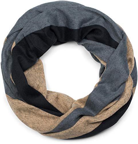 styleBREAKER Unisex Loop Schal Feinstrick mit Wellen Muster, Schlauchschal, Strickschal 01017080, Farbe:Braun-Schwarz-Grau
