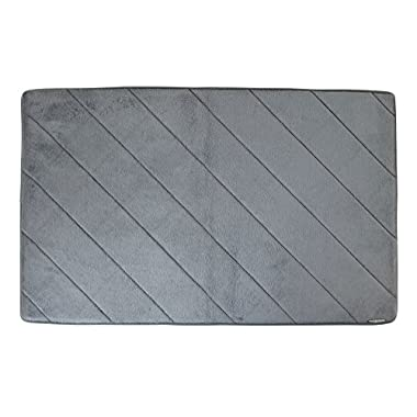 Micro Dry Memory Foam Bath Mat - 21 x 34 Inches - Pewter
