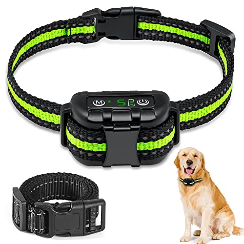 Bark Collar, Rechargeable Dog Barking Control Training Collar with Beep, Vibration and No Harm Shock Bark Collar for Small, Medium, Large Dogs-5 Adjustable Sensitivity and Intensity Levels