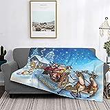 Dachangtui Manta Ultra-Suave Micro Fleece Blankets, ChristmasSanta en Trineo con Renos y Juguetes en Snowy North Pole Tale Fantasy Imagen Decorativa Azul Marino`` 60 'x 80'