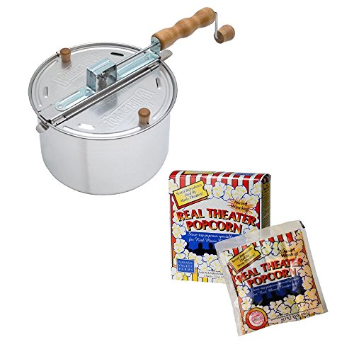 Wabash Valley Farms Whirley Pop Stovetop Popcorn Popper (Original Silver) + All-Inclusive Popping Kits (5 Pack/27.5oz)
