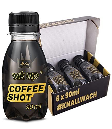 MELITTA WKUP Coffee Shot 6 Flaschen je 90 ml   Coffee Booster - Wachmacher Getränk ohne Pfand   Booster Energy Shot Koffein Power Getränk Kaffee Kaltgetränk