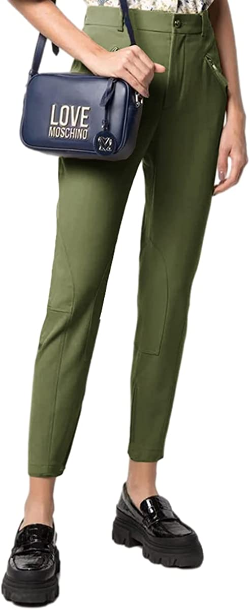 QVESELU Women's Solid Color Cropped Trousers Regular Fit Straight Leg Splicing Pant with Pockets