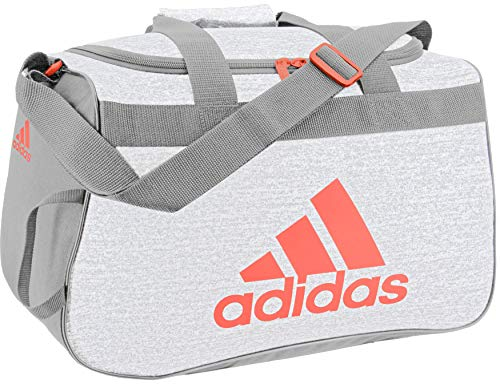 adidas Unisex Diablo Small Duffel Bag, White Jeresy/Grey Two/Hi - Res Coral, ONE SIZE