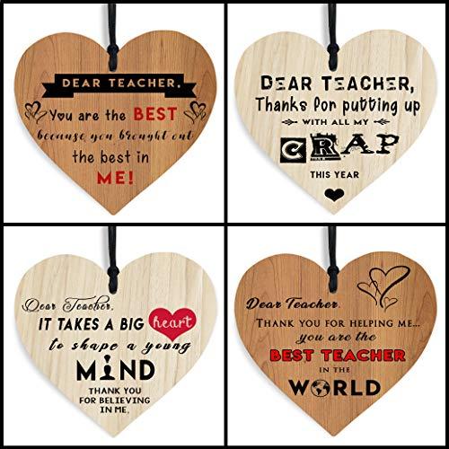 THE TWIDDLERS Juego de 4 Placas de Madera en Forma de Corazón para Profesores - Gracias Inscritas con Cálidos Mensajes Variados - Un Xmas Regalo Ideal para Fin de Curso/Año.