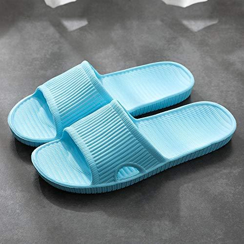 ENLAZY Zapatillas de baño Antideslizantes para Mujer y Hombre Zapatillas de baño de Secado rápido Sandalia de Ducha de SPA para casa Interior,Azul Claro,39/40