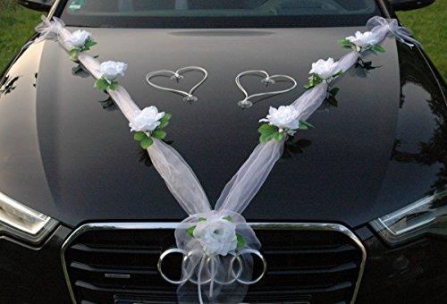 Autoschmuck Decoración para Coche (Tela de Organza con Rosas de ratán y Corazones) para Coches de Novios (Blanco Puro y Blanco)