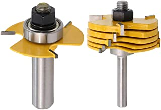 Yakamoz 1/2 Inch Shank Adjustable 3 Wing Slot Cutter Router Bit Set with 6-Picecs Slotting Cutters | 1/2 Inch Cutting Depth & 6 Different Cutting Widths
