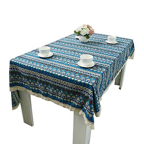 NiSeng Nappes Coton Lin Imprimé Nappe de Table rectangulaire d carrée Nappe Decorative Anti-tâche Différentes Tailles Bleu 140x140 cm