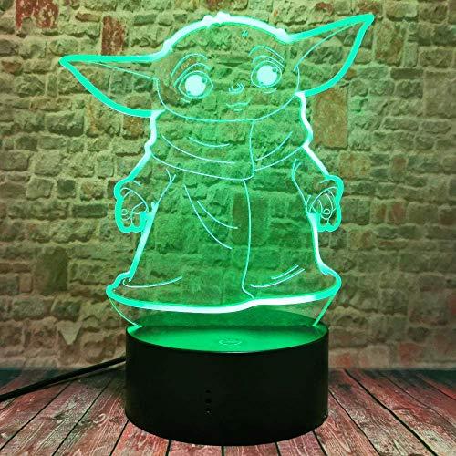 Lámpara de ilusión 3D Luz de noche LED Star Wars The Mandalorian Baby Yoda para niños Acción 7 colores Cambiar ventiladores Decoración de habitación de niños Regalos de Navidad