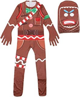 ROLEMAX Kids Gingerbread Man Costume Halloween Christmas Party Cosplay Clothes Jumpsuit with Mask