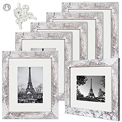 upsimples 8x10 Picture Frame Wood Pattern Distressed White with High Definition Glass,Display Pictures 5x7 with Mat or 8x10 Without Mat,Multi Photo Frames Collage for Wall or Tabletop Display,Set of 6